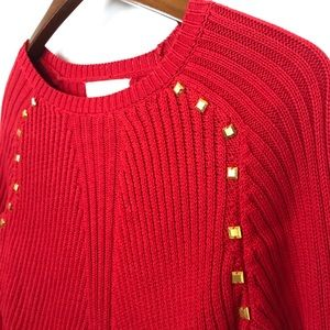 Michael Kors Red Sweater w/Gold Accents Sz Small